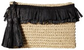 San Diego Hat Company BSB1712 Paper Crochet Clutch with Two Row Frayed Paper Opening