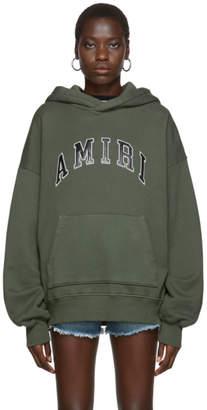 Amiri Khaki College Logo Hoodie