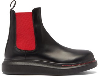 Alexander McQueen Exaggerated-sole Leather Chelsea Boots - Black Red