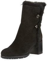 Aquatalia Evangeline Fur-Trim Block-Heel Boot