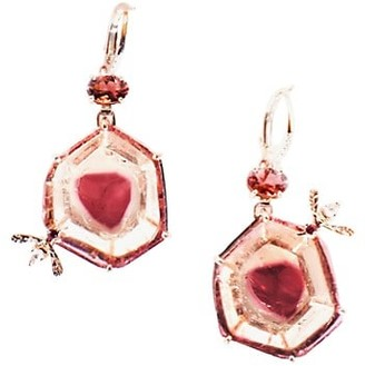 Sharon Khazzam Bee 18K Rose Gold, Pink Tourmaline Diamond Drop Earrings
