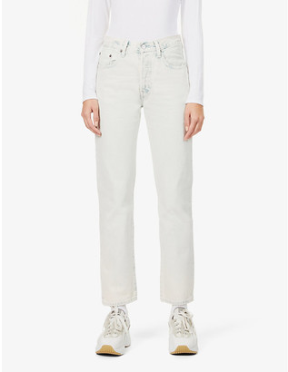 Levi's 501 Ladies White Cotton Straight-Leg High-Rise Jeans, Size: 29