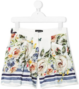 MonnaLisa Rose Print Tailored Shorts