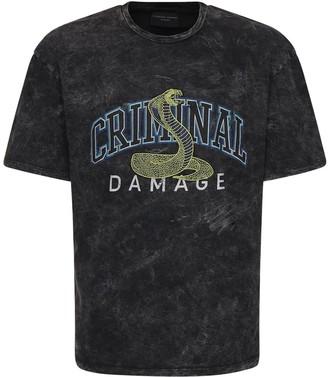 Criminal Damage Criminal College Printed Cotton T-shirt