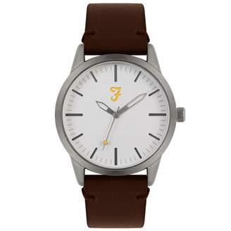 Farah Unisex Adult Analogue Classic Quartz Watch with Leather Strap FAR2002