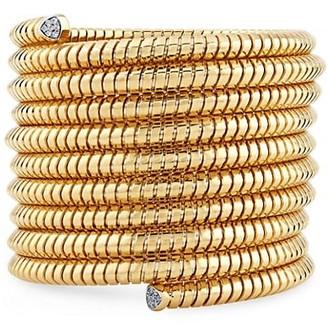 MARINA B Trisolina 18K Yellow Gold & Diamond Pave 10-Row Coiled Cuff Bracelet