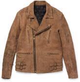 Blackmeans Slim-fit Distressed Suede Biker Jacket - Tan