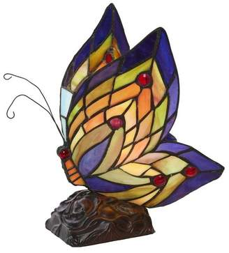"""River Of Goods 9.5"""" Stained Glass Butterfly Wings Accent Lamp"""