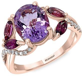 Effy 14K Rose Gold, Amethyst, Rhodolite Diamond Ring