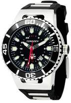Torgoen Men's Analog Quartz Watch with Black Dial and Rubber Strap - T23301