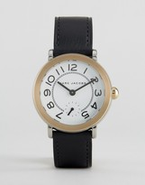 Marc Jacobs Gold Tone Riley Black Leather Watch