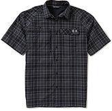 Under Armour Fish Plaid Hunter Short-Sleeve Pocket Stretch Woven Shirt