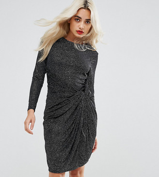 City Goddess Petite Embellished Shoulder Detail Mini Dress With Knot Front