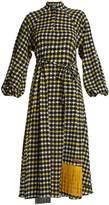 DURO OLOWU Napoli check-print puff-sleeved dress