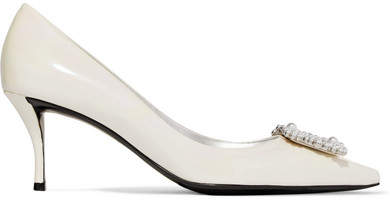 Roger Vivier Flower Faux Pearl-embellished Iridescent Patent-leather Pumps - White