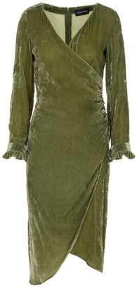 Edward Mongzar Hand Dyed Silk Velvet Wrap Dress - Green