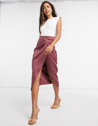 ASOS DESIGN wrapped scuba midi pencil skirt in dark rust