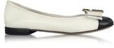 Marc Jacobs Ivory and Black Leather Interlock Round Toe Ballerina