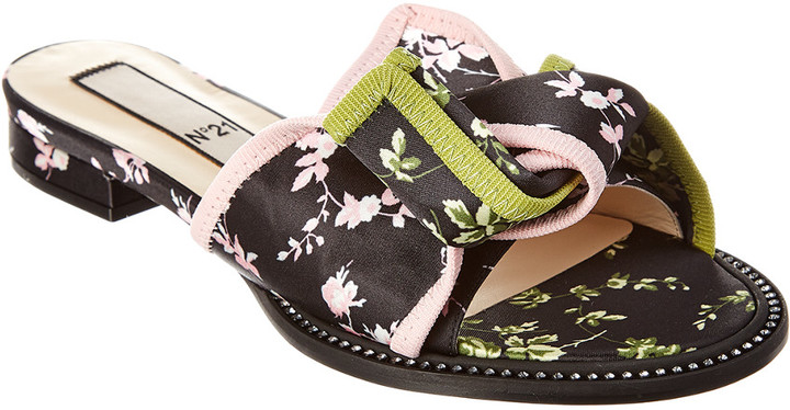 N°21 N 21 N21 Satin & Leather Slide