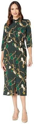 Donna Morgan Status Print 3/4 Sleeve Lightweight Stretch Crepe Collared Shirtdress (Green Cali Chain) Women's Clothing