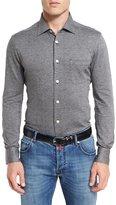 Kiton Pin-Dot Knit Shirt, Gray