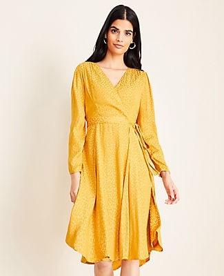 Ann Taylor Petite Cheetah Print Jacquard Wrap Dress