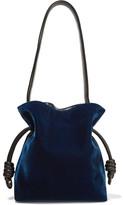 Loewe Flamenco Knot Small Leather-trimmed Velvet Shoulder Bag - Storm blue