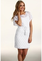 Muse Drop Sleeve Dress w/ Open Weave Overlay (White) - Apparel