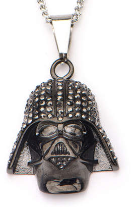 Star Wars FINE JEWELRY Black IP Stainless Steel Darth Vader Pendant Necklace