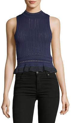 3.1 Phillip Lim Compact Pointelle Lace Cropped Tank Top