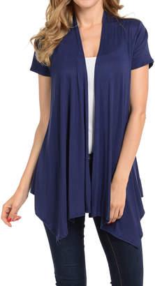 Shamaim Women's Open Cardigans NAVY - Navy Short-Sleeve Handkerchief Cardigan - Women