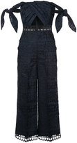 Self-Portrait lace-embroidered jumpsuit - women - Polyester - 8
