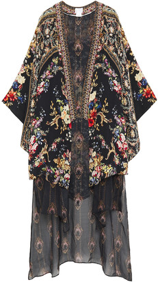 Camilla Layered Floral-print Silk Crepe De Chine And Chiffon Kimono