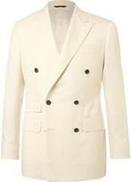 Thom Sweeney - Cream Slim-fit Double-breasted Slub Herringbone Wool Suit Jacket