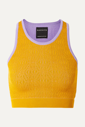 Nagnata - Cropped Technical-knit Stretch-cotton Top - Mustard