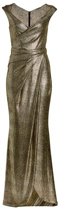 Talbot Runhof Stingray Metallic Cap-Sleeve Wrap Gown
