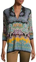 Etro Paisley V-Neck Long-Sleeve Tee, Green/Gold