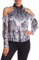 bebe Printed Cold Shoulder Ruffle Blouse