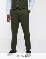 Harry Brown Plus wedding tweed heritage suit trousers-Green