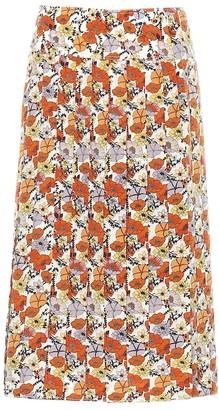 Tory Burch Pleated floral silk skirt