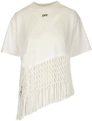 Off-White Asymmetric Fishnet Hem T-Shirt