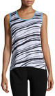 ming wang scoopneck knit long tank blackwhite