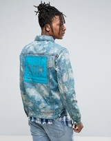 Reason Denim Jacket In Marble Wash With Back Print