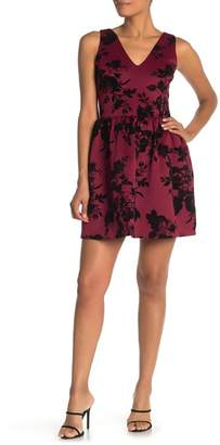 Love...Ady Double V Floral Flocked Fit and Flare Dress