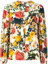 Fausto Puglisi flower print collarless shirt - women - Silk/Cotton - 42