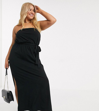 ASOS DESIGN Curve bandeau maxi dress with belt in black