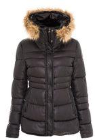 Quiz Black Padded Faux Fur Hood Jacket