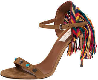 Valentino Brown Suede Rolling Embroidered Fringed Rockstud Ankle Strap Open Toe Sandals Size 37