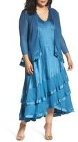Komarov Plus Size Women's Tiered Dress With Jacket