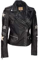 Wilsons Leather Womens Vintage Asymmetric Leather Jacket W/ Star Accents